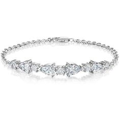 White Gold Pear Shape & Round Diamond Station Bracelet ($27,500) ❤ liked on Polyvore featuring jewelry, bracelets, bijoux, diamond bangles, diamond jewelry, white gold jewellery, white gold jewelry and diamond jewellery #GoldJewelleryBijoux