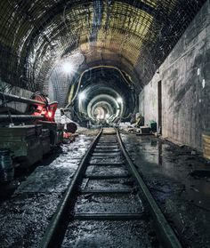 His intriguing images feature vibrant streaks, graffiti, and tight framing - and by adding individuals to some to some of shots, he is also able to depict the incredible scale of some of the tunnels.