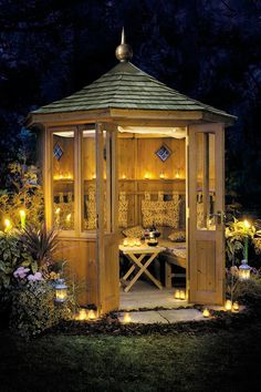Gazebo Ideas to Embellish Your Lovely Garden Garden house at night Adds fun to the homestead. -Garden Gazebo Ideas-Garden house at night Adds fun to the homestead. Outdoor Rooms, Outdoor Gardens, Outdoor Living, Outdoor Office, Outdoor Sheds, Dream Garden, Home And Garden, Garden Cottage, Small Garden Summer House Ideas