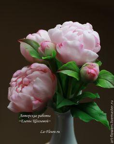 Купить Букет пионов (холодный фарфор) - розовый, пионы, пион из полимерной глины, керамическая флористика