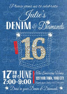 Denim & Diamonds Sweet 16 Birthday Invitation by cherylkaydesigns