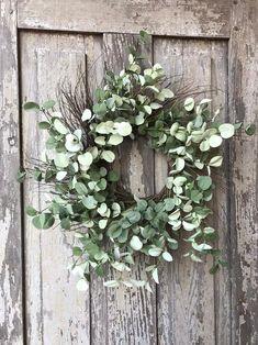 Eucalyptus Wreath Green Wreath Spring Wreath All Year   Etsy