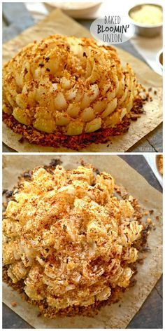 and different bread crumbs or crushed club crackers.This says: Baked Bloomin' Onion! An easy skinny version of my favorite appetizer. Baked Blooming Onion, Blooming Onion Recipes, Vidalia Onion Recipes, Grilled Blooming Onion Recipe, Finger Food Appetizers, Appetizer Recipes, Bloomin Onion, Snacks Für Party, Vegetable Dishes