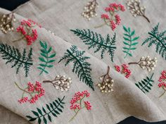 summer leaf embroidery linen