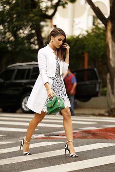 White lace over blackdress with a long blazer, black & white heels, and a cute green handbag --Love it!