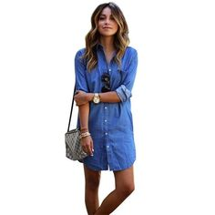 Women Casual Loose Blue Denim Jeans Shirt Long Sleeve Blouse Tops Mini Dress