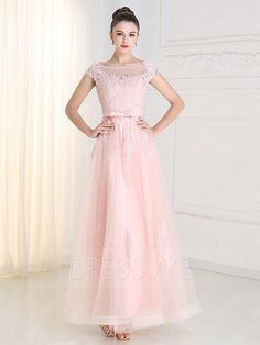Buy Classy Beading Applique Round Neck Zipper-up Cap Sleeves A-line Floor Length Prom Dress  Online, Dresswe.Com offer high quality fashion,Price: USD$118.69