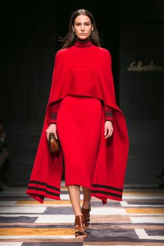 Ribbed ponchos bounced invitingly with each step, animating the looks at Salvatore Ferragamo. (Photo: Nowfashion)