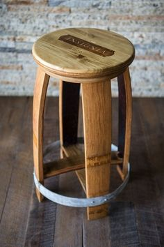 Wine Crate Top Barrel Stool by alpinewinedesign on Etsy Wine Barrel Chairs, Whiskey Barrel Table, Whiskey Barrel Furniture, Wine Barrels, Wine Crate Table, Wine Crates, Barrels For Sale, Barris, Barrel Projects