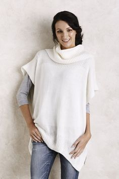 Crème Poncho with Scarf