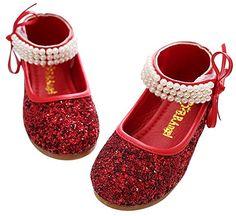 Happy Cherry Mädchen Paillette Ballerina Schuhe mit Riemchen Klettverschluss Kleine Prinzessin - Rot Größe 31