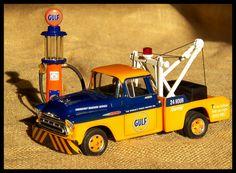 Diecast 1957 Chevy Gulf truck with pump