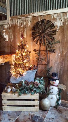 My rustic country Christmas bathroom