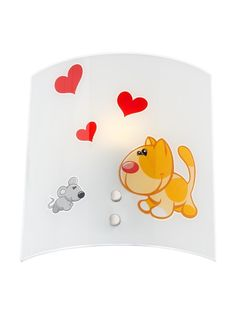 PUPPY LOVE Redo - nástenná lampa - kov+sklo - 230x215mm