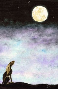 Moon Gazing Hare Print