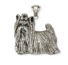Sterling Silver Yorkshire Terrier Yorkie Pendant Jewelry  YK29-p