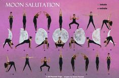 While the Sun Salutation sequence is fiery, intense and strength-building, the Moon Prayer Salutation is soothing and quieting, ideal for days where you just feel worn out and need a calming pick-me-up. Best done in the evening, the sequence pays. Yoga Moon Salutation, Sun Salutation Sequence, Yoga Flow Sequence, Yoga Sequences, Yoga Poses, Ashtanga Yoga, Yoga Restaurador, Yoga Pilates, Namaste Yoga