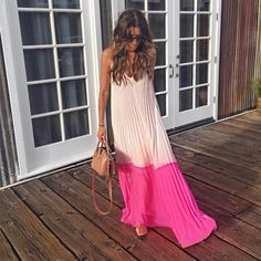 General Plus Pink Day Dresses Pink Polyester Casual Spring Maxi Summer A-line Dress Sleeveless S Color Block M L XL XXL Slip Camisole Neckline Dress Trendy Summer Outfits, Casual Summer Dresses, Beach Outfits, Dress Casual, Look Fashion, Fashion Outfits, Fashion Ideas, Pink Maxi, Pink Sundress