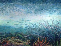 Fish mosaic by Dixie Friend Gay in the Ocean & Coastal Sciences Building at Texas A & M University Galveston.