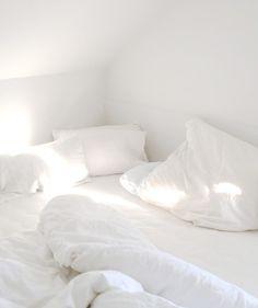 White linens in the sunlight.