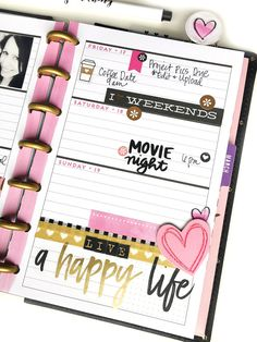 two black, pink, & gold layouts for that Valentine's feel Valentine's week MINI 'Happy Blooms' Happy Planner® by mambi Design Team member Jen Randall Planner Layout, Planner Pages, Life Planner, Printable Planner, Planner Stickers, Planner Ideas, Planner Board, Printables, Journal Stickers