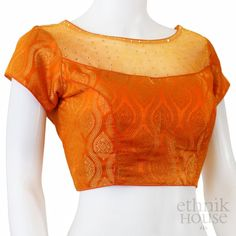 Readymade boatneck silk blouse with net neckline Netted Blouse Designs, Cotton Saree Blouse Designs, Simple Blouse Designs, Stylish Blouse Design, Latest Blouse Neck Designs, Net Saree Blouse, Blouse Dress, Traditional Blouse Designs, Designer Blouse Patterns
