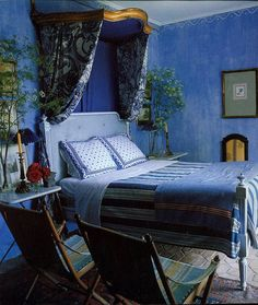 Rustic Style bedroom in a house in Provence France Blue Rooms, Blue Bedroom, Bedroom Decor, Royal Bedroom, French Provincial Bedroom, Bed Crown, Provence Style, Provence France, Deco Boheme