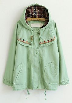 Green Embroidery Stud Loose Cotton Blend Trench Coat Mint Green is not my color, but love the details.