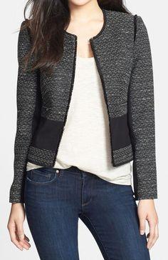 Halogen(R) Mixed Media Tweed Jacket