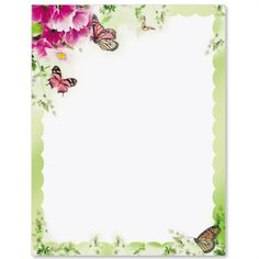 Primrose and Butterflies Border Papers Flower Silhouette, Silhouette Clip Art, Borders For Paper, Borders And Frames, Clip Art Library, Print Box, Butterfly Frame, Frame Clipart, Simple Flowers