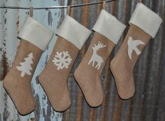I think would be cute with plaid top.   Christmas Stockings Burlap Christmas Stockings by EverydayGraces, $100.00