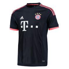 As FC Bayern Munich continues their Bundesliga dominance, they will look to recapture the Champions League title. The 2015-16 Adidas Bayern Munich 3rd jersey features a dark blue design with red accents. Get the FC Bayern soccer jersey today at SoccerCorner.com.  http://www.soccercorner.com/Adidas-Bayern-Munich-Third-15-16-Soccer-Jersey-p/tt-adaa5222.htm