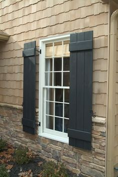 Exterior Window Shutters Diy Stones 68 Ideas For 2019 Window Shutters Exterior, House Shutters, Wood Shutters, House Siding, Black Shutters, Siding For Houses, Primitive Shutters, Exterior House Colors, Exterior Design