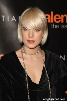 bob with long bangs, agyness deyn