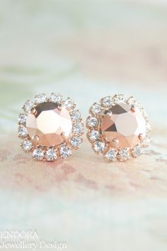 Rose gold crystal earrings | rose gold wedding | crystal earrings | www.endorajewellery.etsy.com