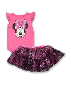 Look what I found on #zulily! Sugar Plum Minnie Bodysuit & Bow Skirt - Infant by Disney #zulilyfinds