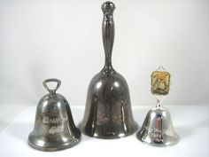 3 VINTAGE SILVER PLATE BELLS-1984 HUMMEL-REED BARTON 1982 CHRISTMAS-SERVICE BELL