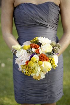 bridesmaid dress & bouquet - Photography By / http://bschwartzphotography.com,Floral Design By / http://anelegantaffaire.com