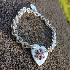 Limited Time Original Sterling Silver Medic Alert Bracelet Heart Thick Choice Of Fonts Text And Clasp Arrangment Medical Condi