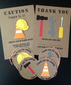 Construction Custom Made Birthday Party Pack, Handmade and Personalized Invitations, Thank You Cards, Tags, Set of 8
