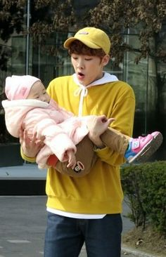 A baby holding a baby Jooheon, Fandom Kpop, Astro Fandom Name, Holding Baby, Baby Carrying, Pre Debut, Boyfriend Pictures, Cha Eun Woo, Funny Memes