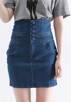 ++ Blue Button Fly High Waist Denim Skirt