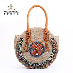 Straw Bag Tote- Angedanlia Woman Round Handmade Purse Summer Beach Woven Shoulder Bag 4190 (Beige): Handbags: Amazon.com
