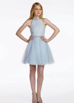 Lexie by Mon Cheri Eighth Grade Dance Dress : Lexie by Mon Cheri is a sleeveless lace and tulle above-the-knee A-lined dress, hand-beaded modified halter neckline, lace bodice, matching beaded waistband, gathered tulle overlay skirt. Junior Homecoming Dresses, Prom Dresses For Sale, Grad Dresses, Short Dresses, Bridesmaid Dresses, Formal Dresses, Summer Dresses, Bat Mitzvah Dresses, Tween Mode