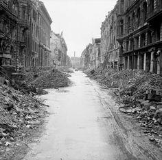 A devastated Berlin street in the city centre just off the Unter den Linden, 3…