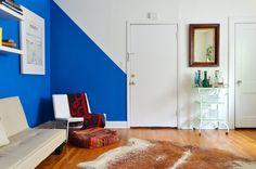 Loving the bold, blue wall stripe!