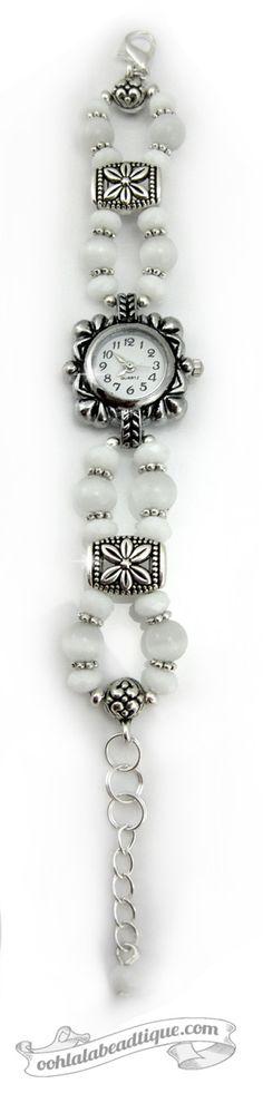 White Cats Eye watch, white wrist watch, bracelet watch, gemstone watch, bead…
