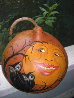 halloween Painted Gourd Art   Halloween Owls Moon Face Vintage Style Gourd Hand by TheRootCellar, $ ...