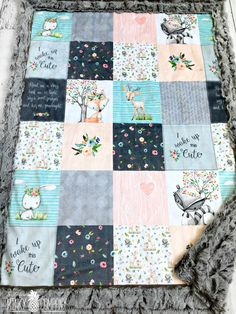 2995b99dbc86 I Woke Up This Cute Minky Blanket - Faux Quilt - Designer Minky - Grey