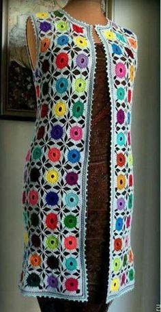 renkli-yuvarlak-motifli-uzun-tunik-bayan-yelek – Nazarca.com